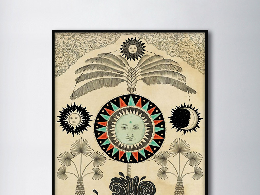 太阳月亮造物主北欧神话手绘欧式复古装饰画图片