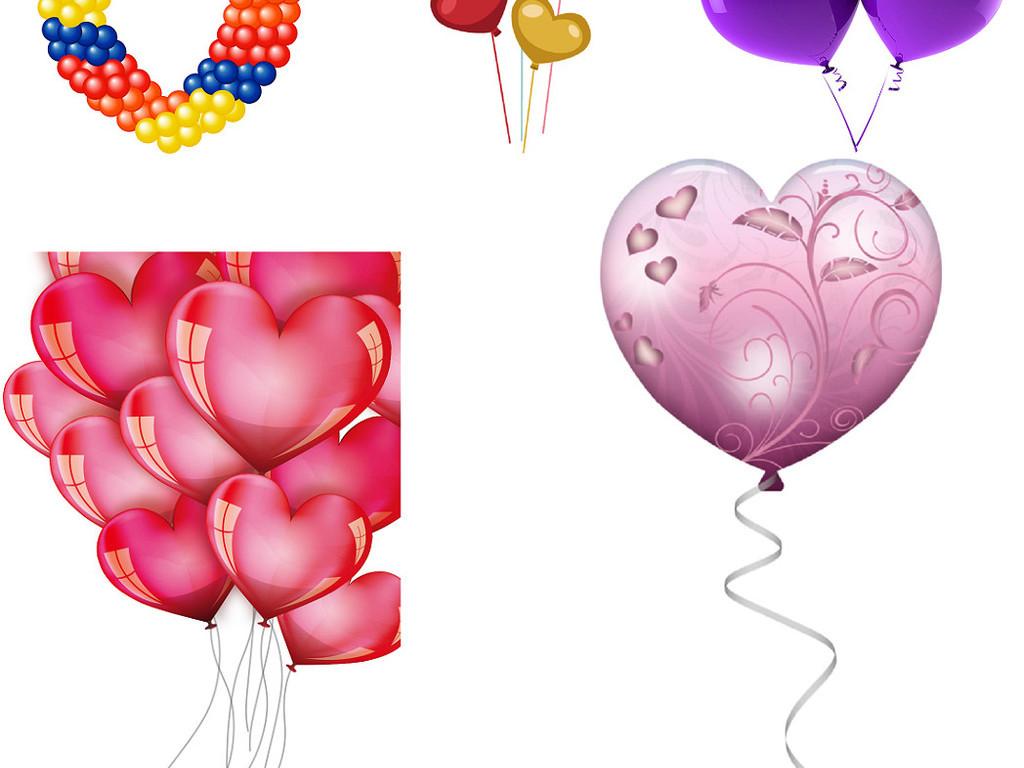 多种心形气球免抠png素材集合3