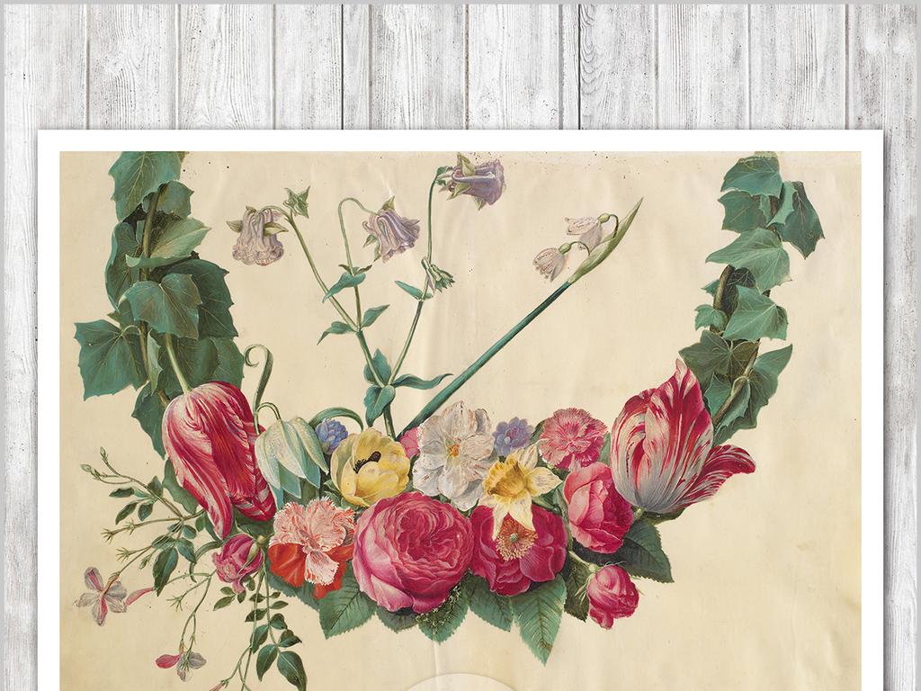 手绘现代欧式复古美式麋鹿花卉背景墙