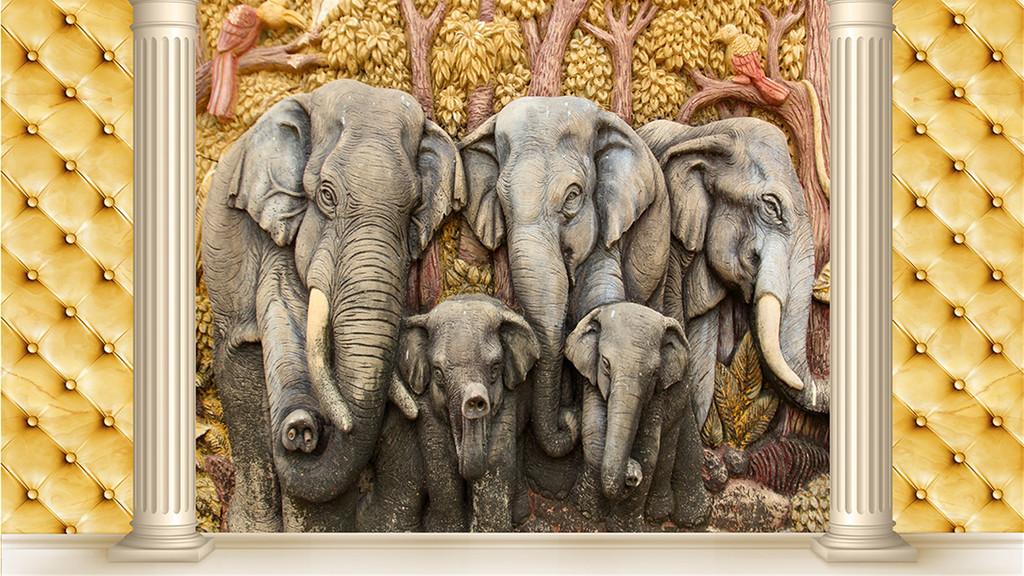 3d软包大象浮雕画背景(图片编号:16090389)