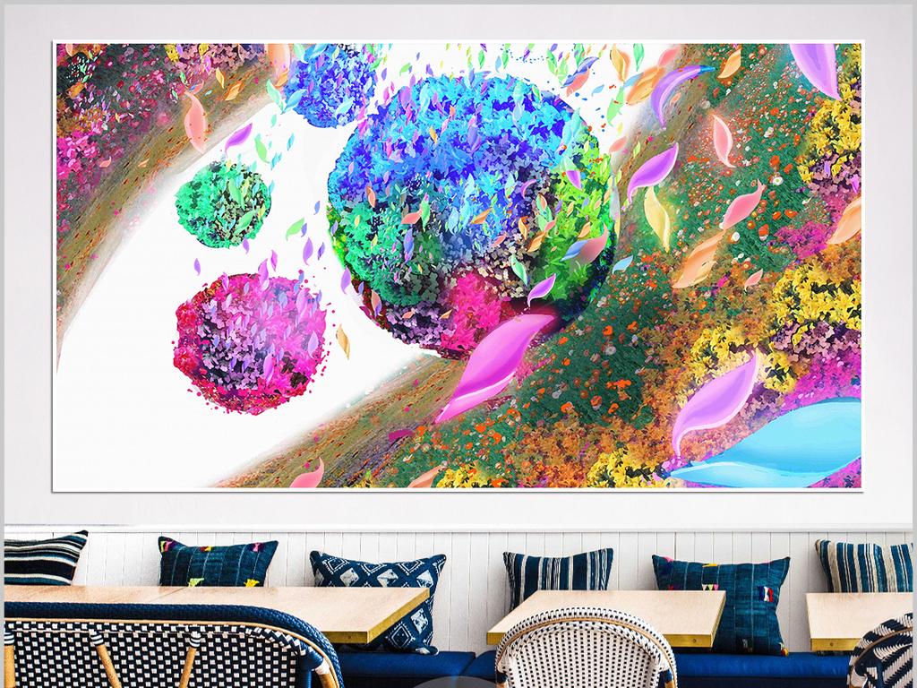 北欧现代手绘花卉宜家田园风格简约无框画