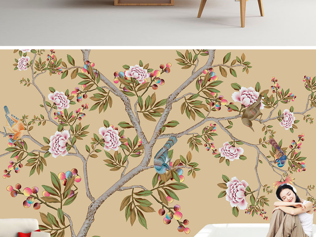 手绘花鸟牡丹电视背景墙中国风高清巨幅壁纸