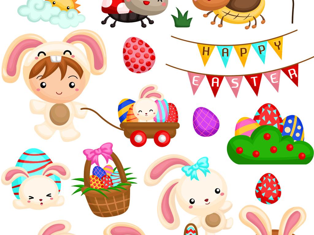 可爱卡通q版圣诞复活节儿童动物矢量素材