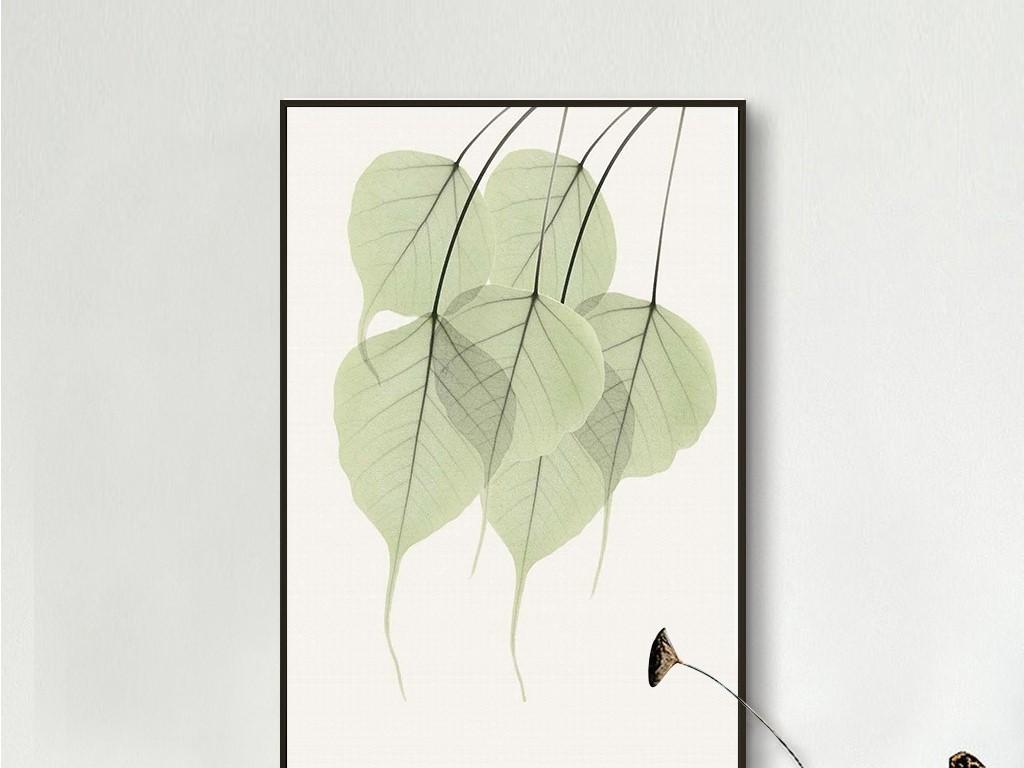 清新绿色透明叶子脉络北欧极简无框画图片