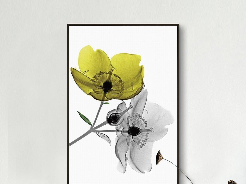 黄色透明花朵极简北欧时尚植物无框画图片