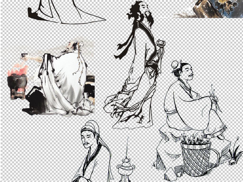 古风美人毛笔手绘图