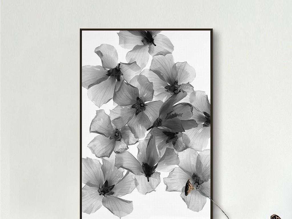 黑白透明樱花花朵北欧简约花卉无框画