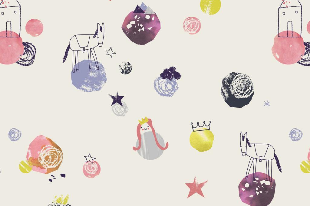 抱枕图案设计手绘卡通图案粉笔画水果