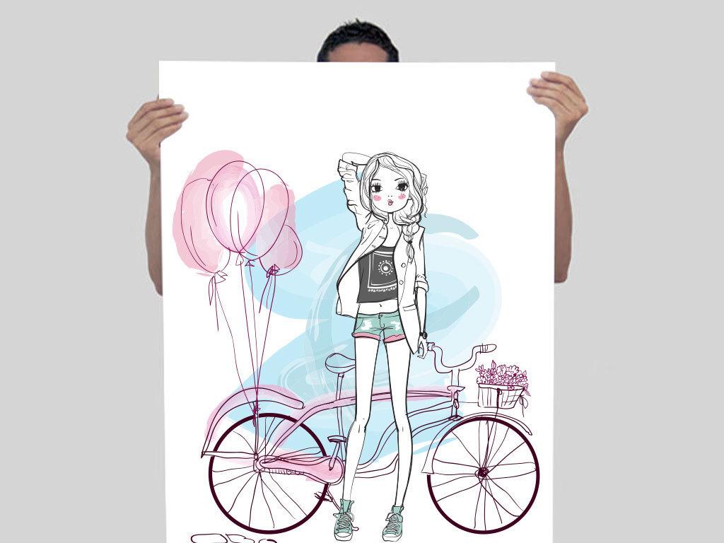 手绘少女漫画人物水彩女孩花朵可爱俏丽萌萌的卡通美女小孩儿童插画