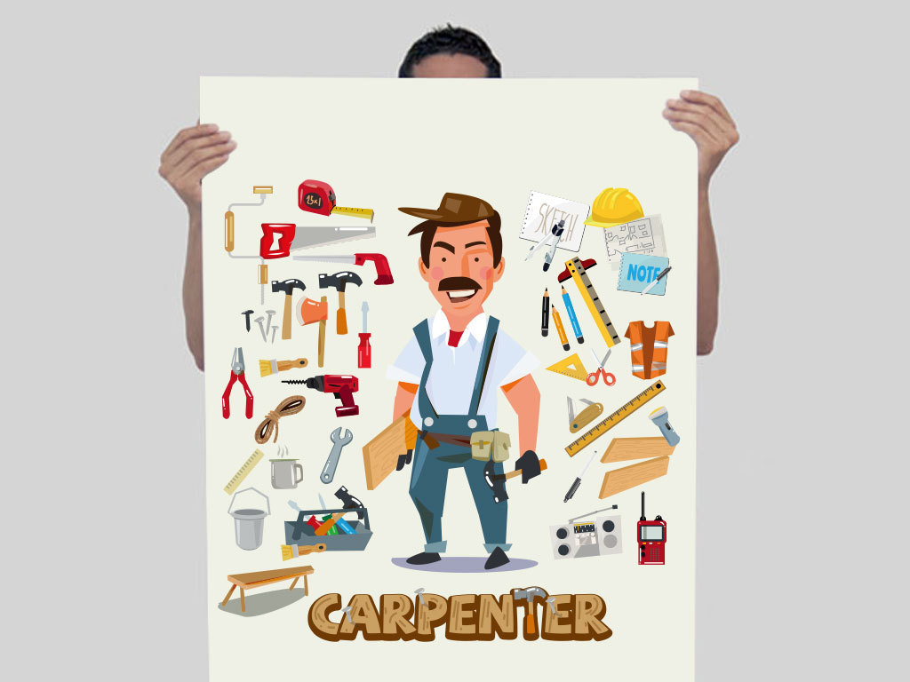 设计作品简介: 卡通维修装修师傅工人人物设计 矢量图, rgb格式高清