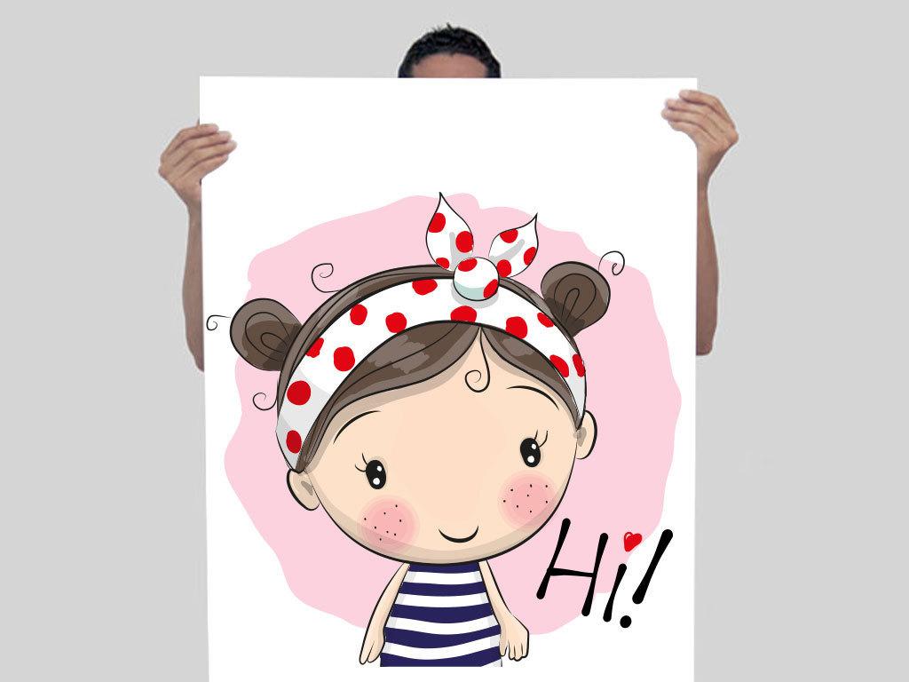 手绘少女漫画人物水彩女孩花朵可爱俏丽萌萌的卡通