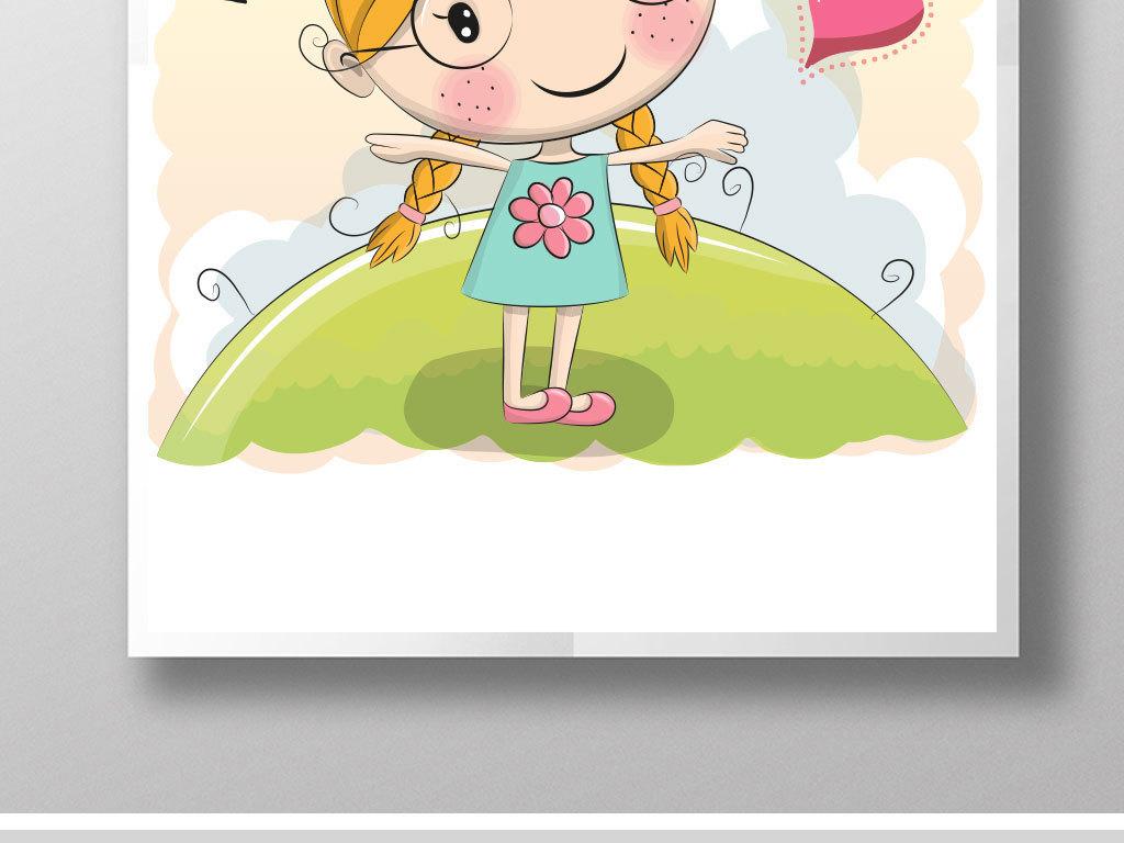 小女孩卡通手绘