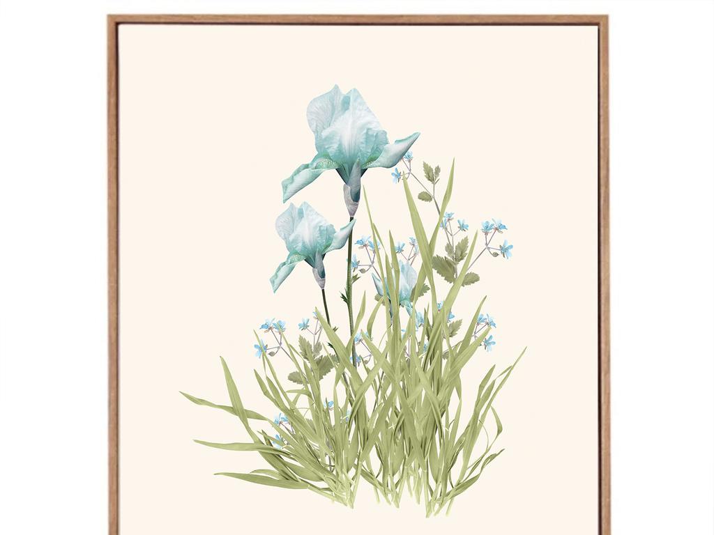 简约贝占风格小清新手绘花卉装饰画