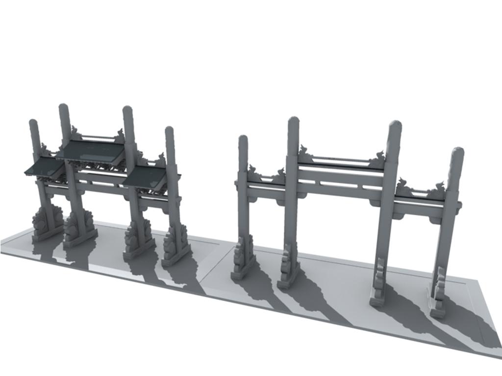 欧式大门古典大门石门园林公园景观通济桥牌坊su模型