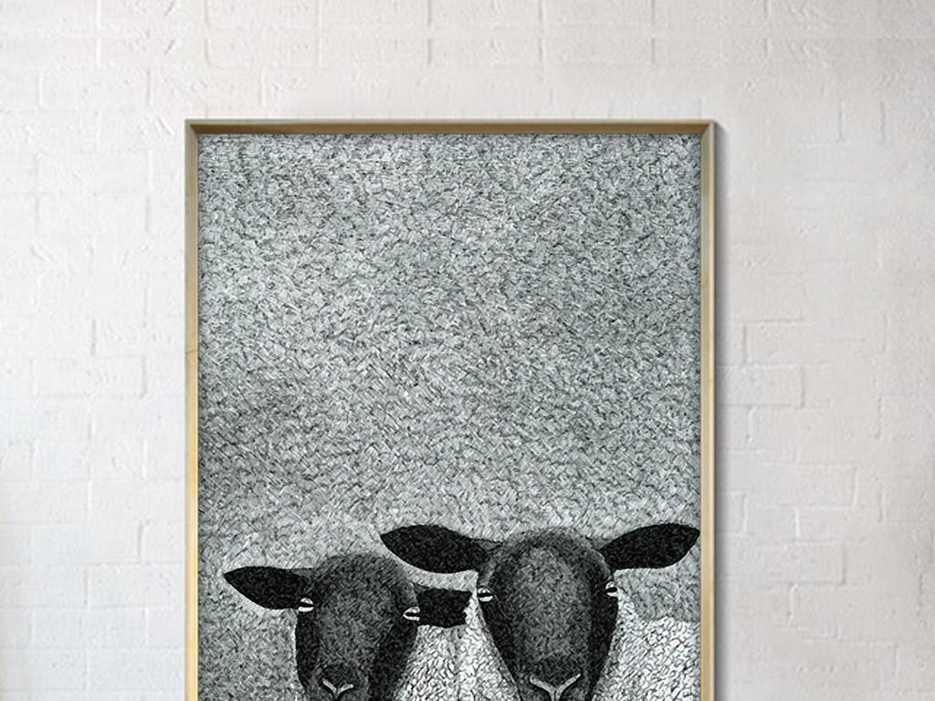 创意手绘黑白绵羊无框装饰画