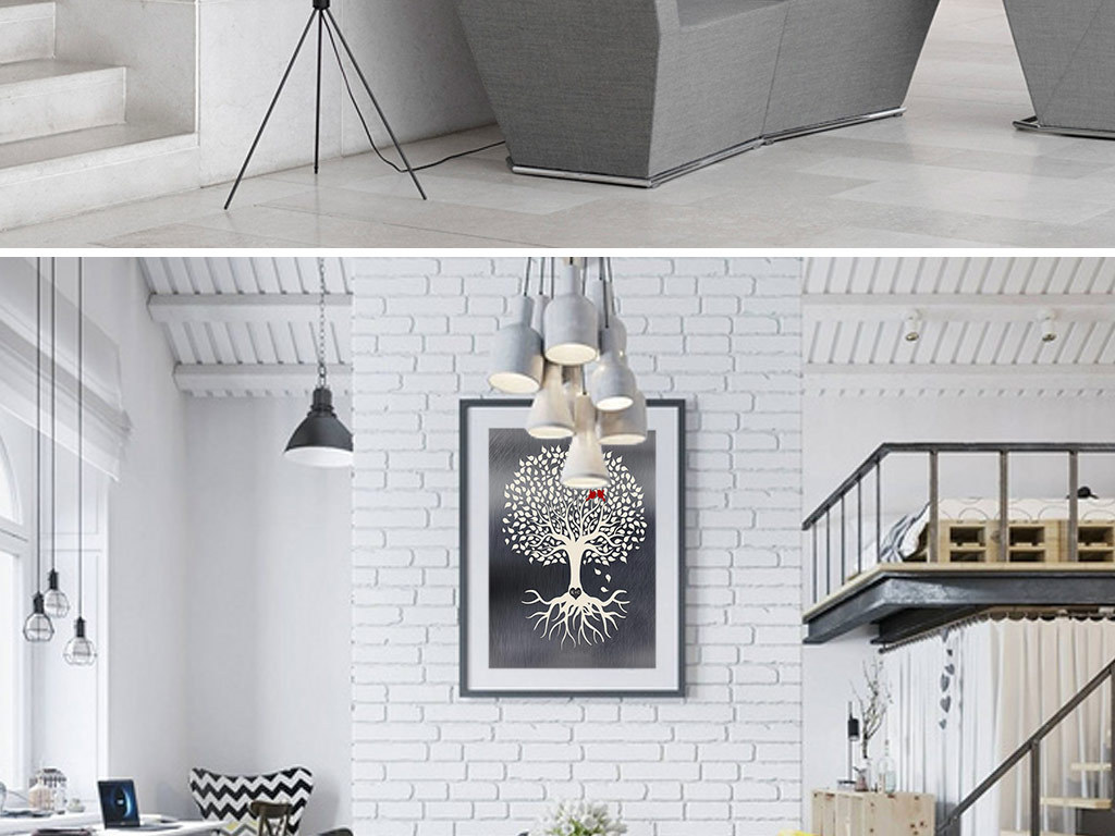 创意手绘黑白大树无框装饰画