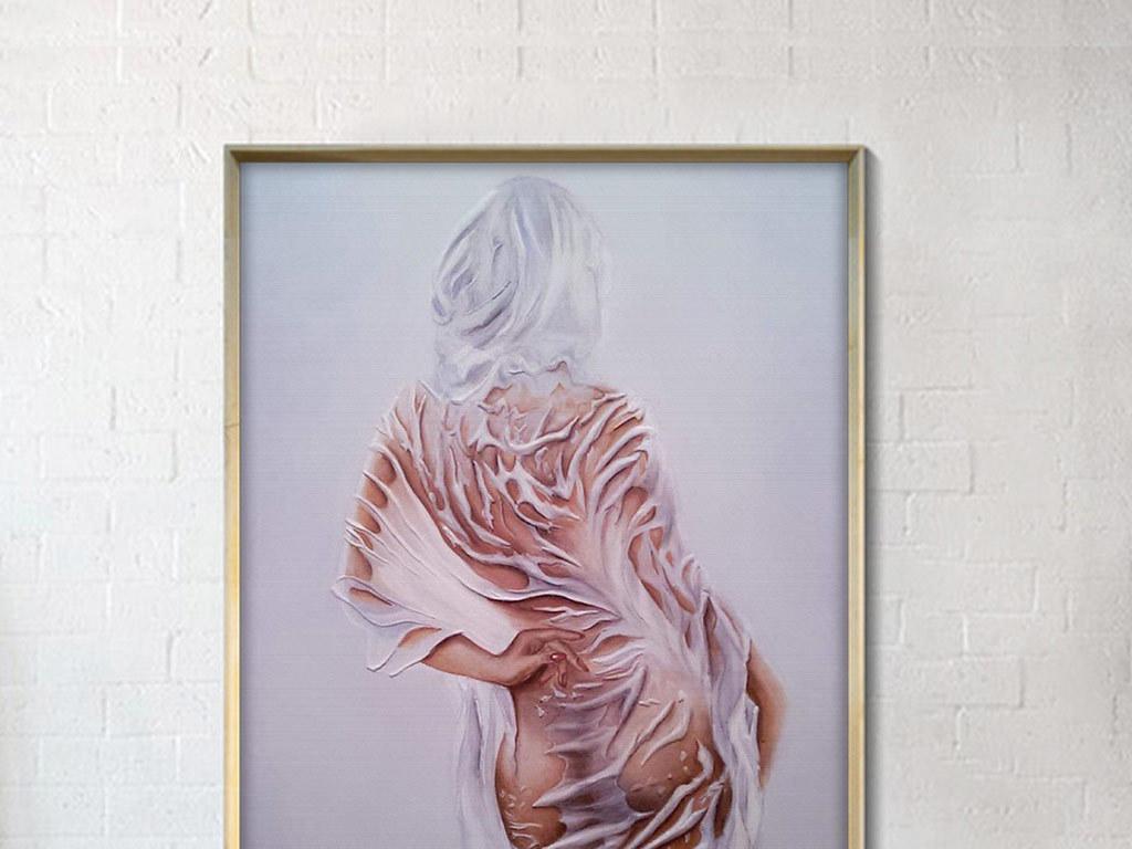 背景墙|装饰画 无框画 人物无框画 > 欧式创意立体美女背影无框装饰画