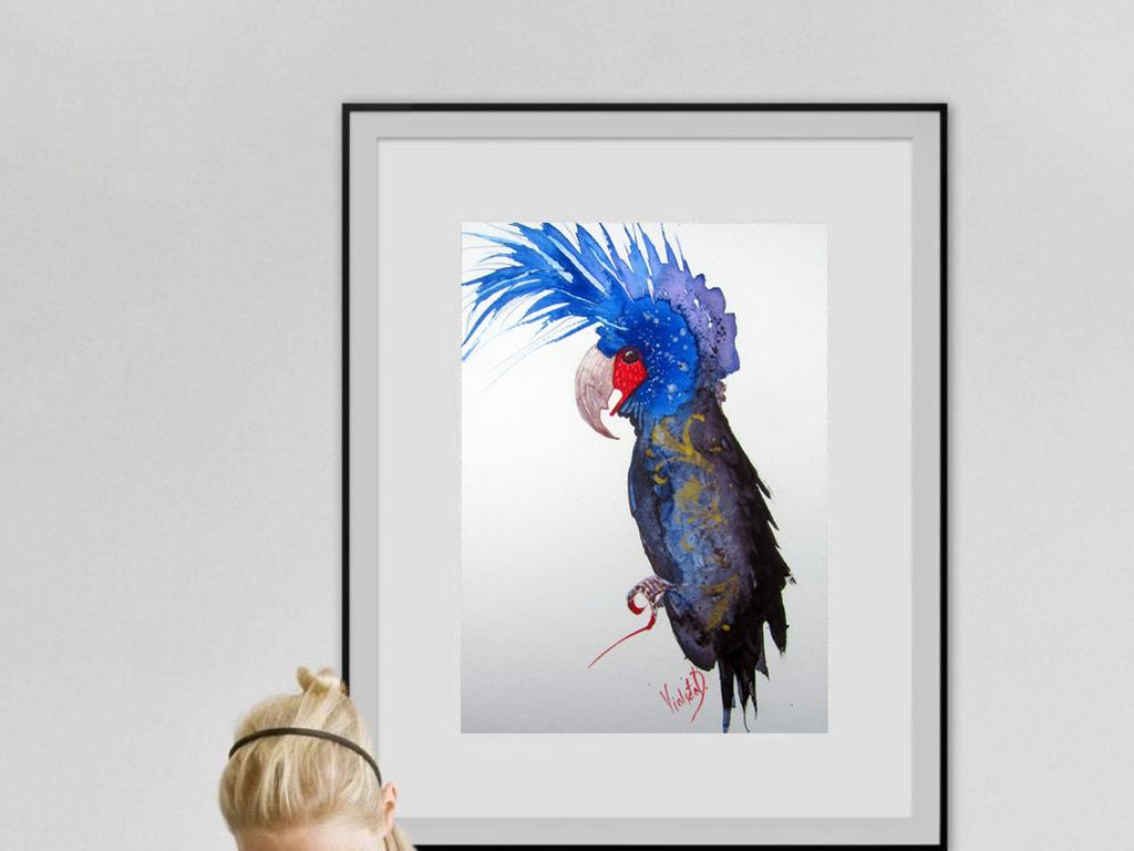 北欧唯美手绘水彩幻想鹦鹉清新背景墙墙纸