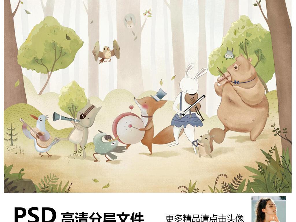手绘树林卡通动物背景墙装饰画