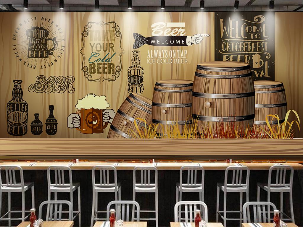 个性木板复古酒庄背景墙