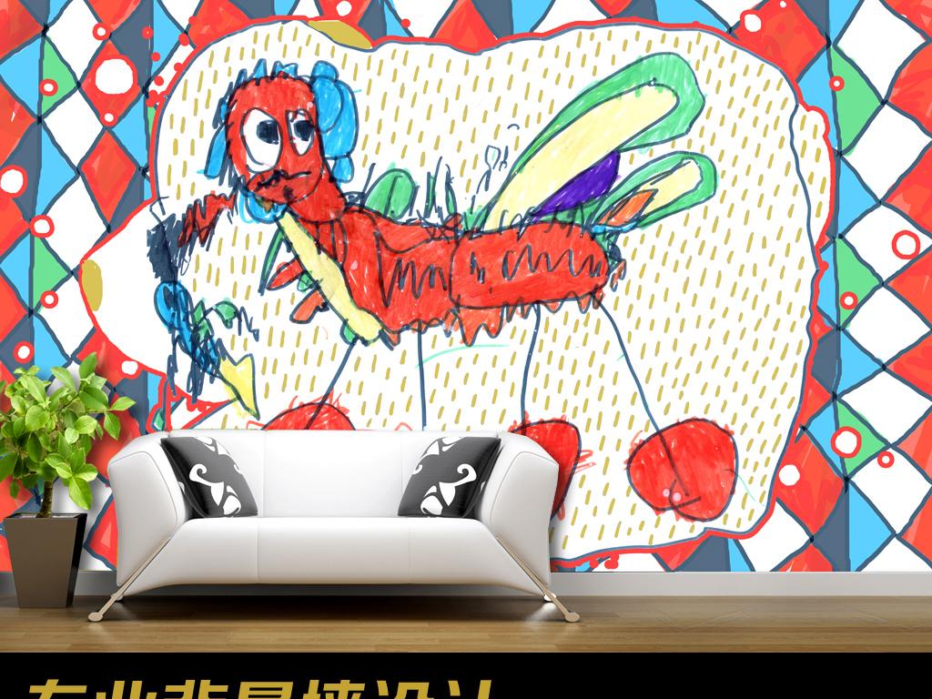 火龙儿童画儿童房儿童手绘背景墙
