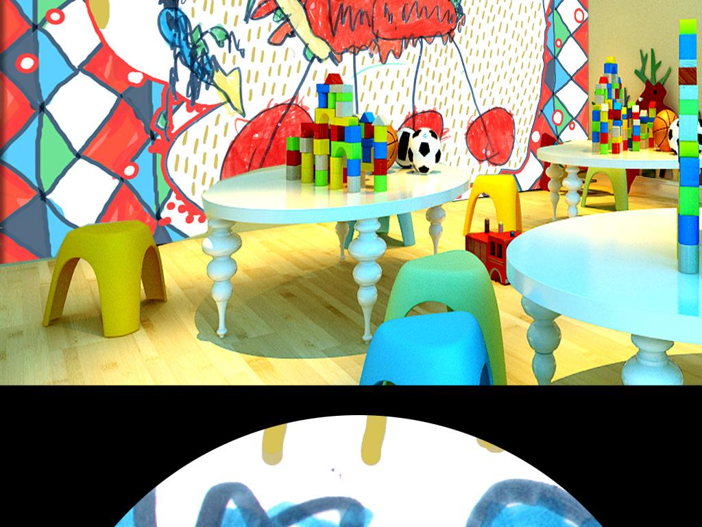 女孩男孩小饭桌卡通背景卡通动物儿童手绘手绘背景