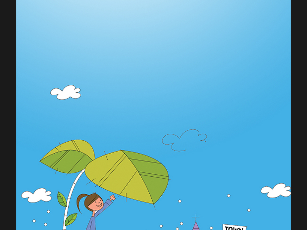 2017蓝色卡通儿童成长相册背景模板