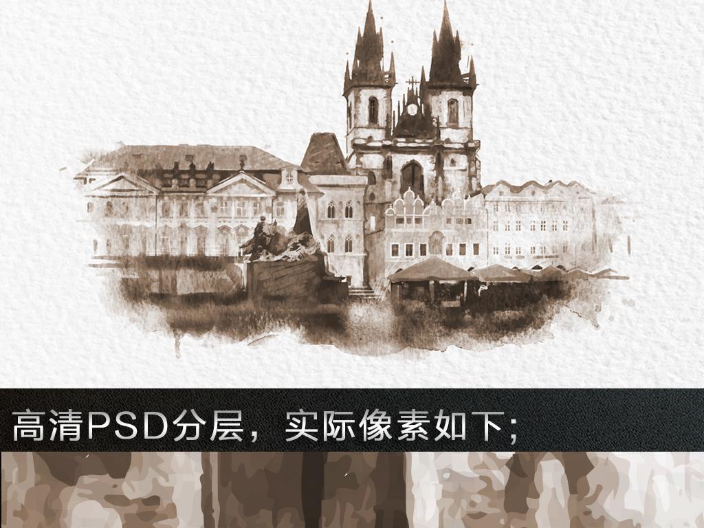 手绘城堡沙发背景墙
