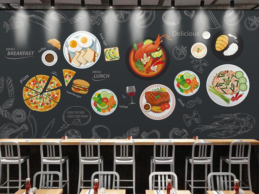背景墙 工装背景墙 酒店|餐饮业装饰背景墙 > 黑色黑板西式餐厅背景墙图片