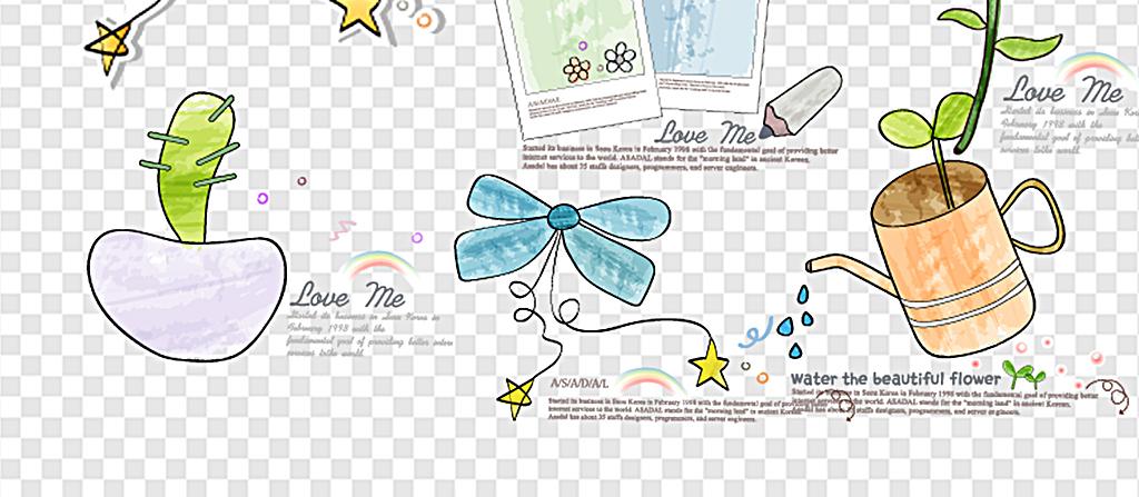 卡通手绘花纹装饰手抄报装饰素材