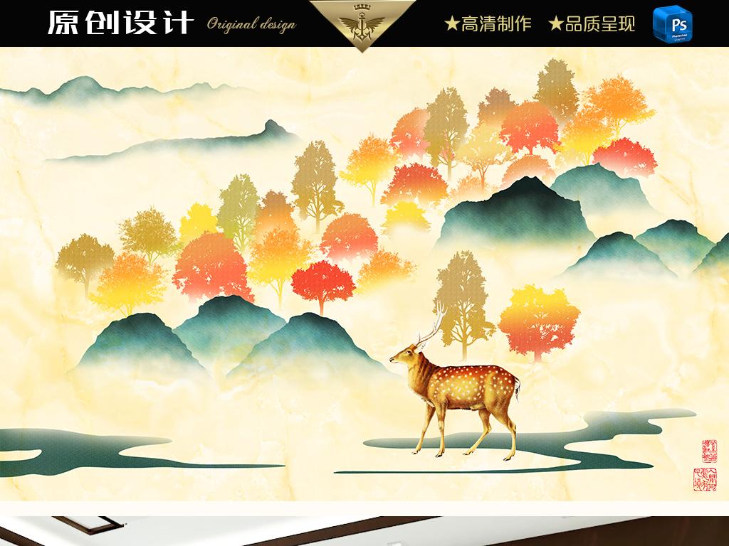 麋鹿水墨山水大理石壁画(图片编号:16093589)