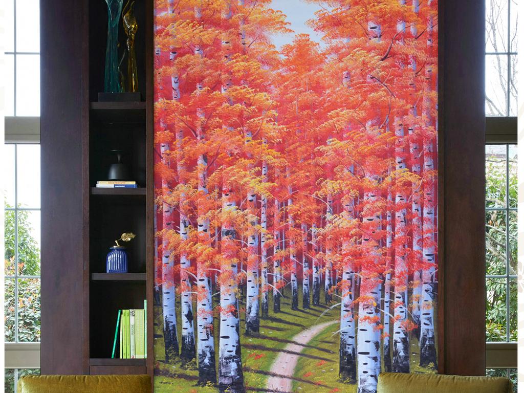 高清巨幅唯美秋色白桦林纯手绘油画艺术玄关