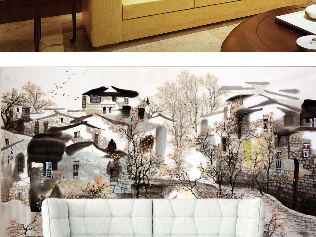 新中式江南民居风光国画电视背景墙图片