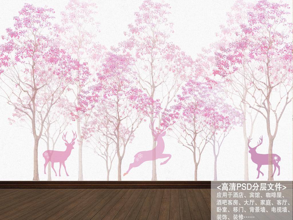 鹿角木板水彩植物花朵玫瑰藤蔓热带驯鹿浪漫粉色树枝抽象北欧背景手绘
