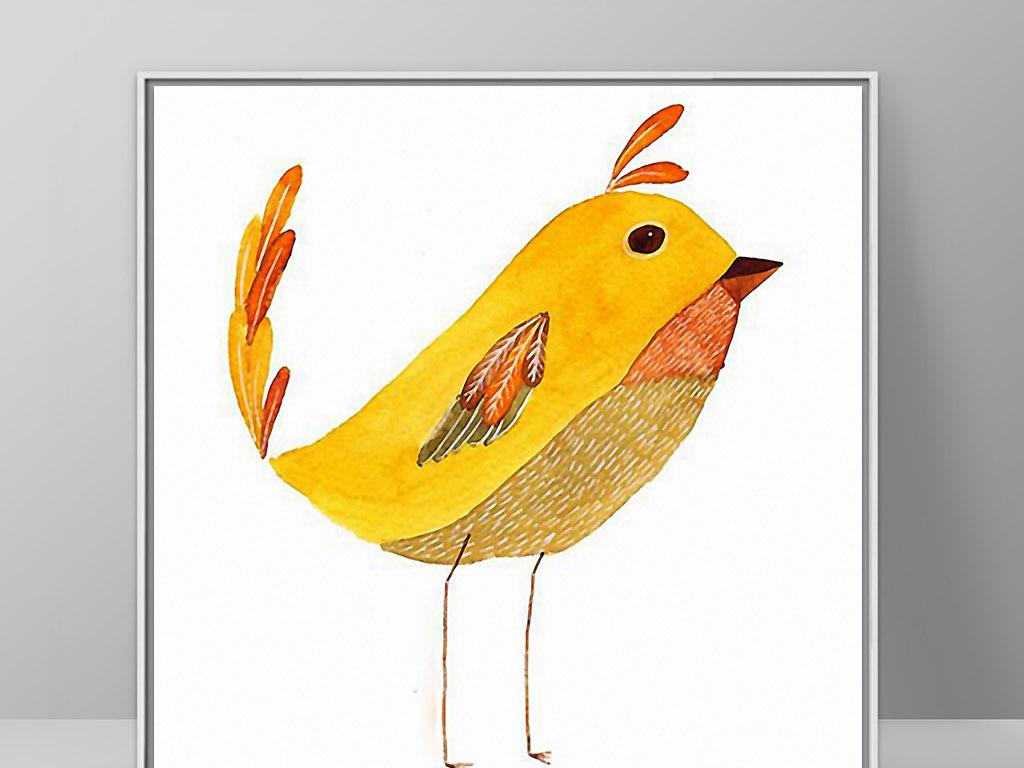 金黄色小鸟北欧可爱手绘欧式现代家居装饰画