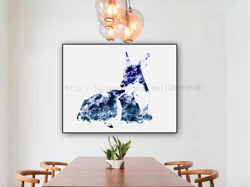北欧宜家手绘水彩梅花鹿母子鹿无框画三联