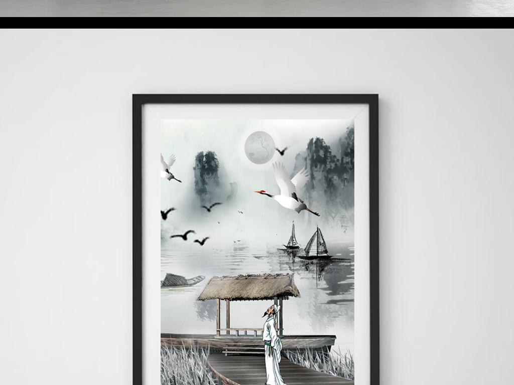 古风手绘插图仙鹤