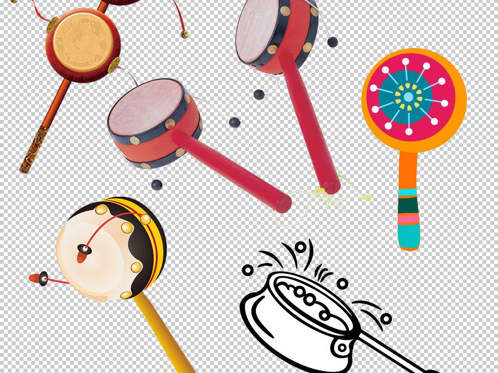 卡通儿童玩具拨浪鼓海报素材