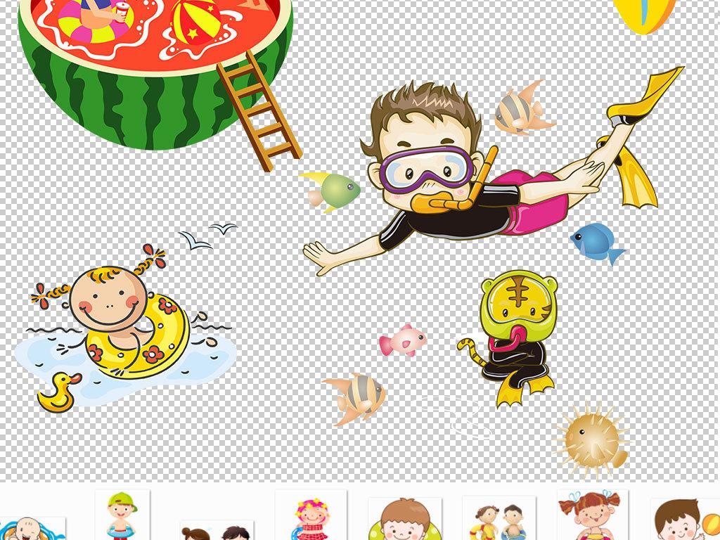 卡通儿童游泳图片海报素材