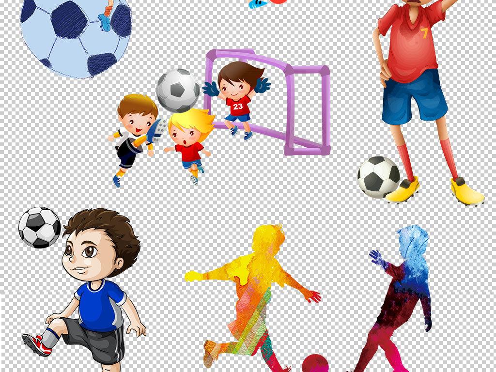 卡通儿童玩耍踢足球图片海报素材