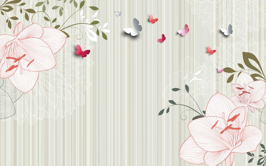欧式花纹花藤立体蝴蝶3d蝴蝶手绘花朵百合花线条花红