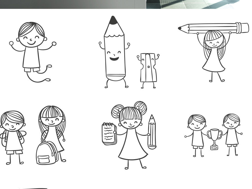 手绘线稿儿童人物设计插画