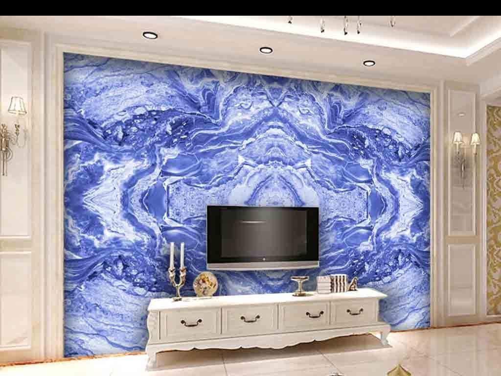 欧式皇家蓝色大理石纹石材背景墙图片
