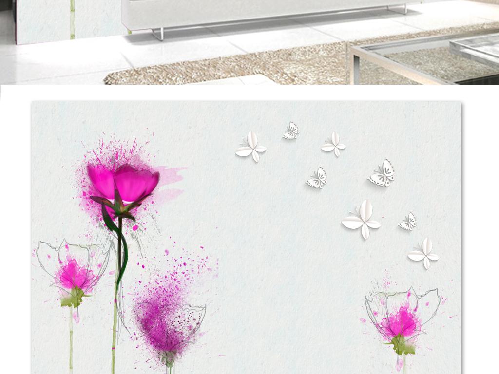 温馨玫瑰电视手绘背景墙3d蝴蝶