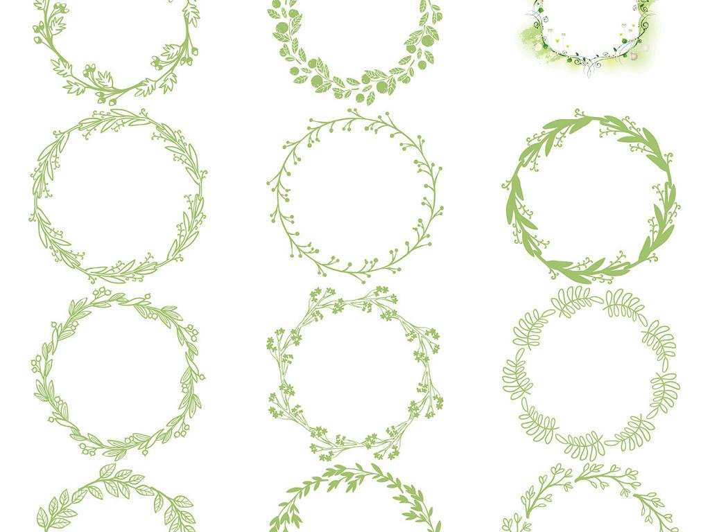 多款圆形花环花边手绘边框免抠素材