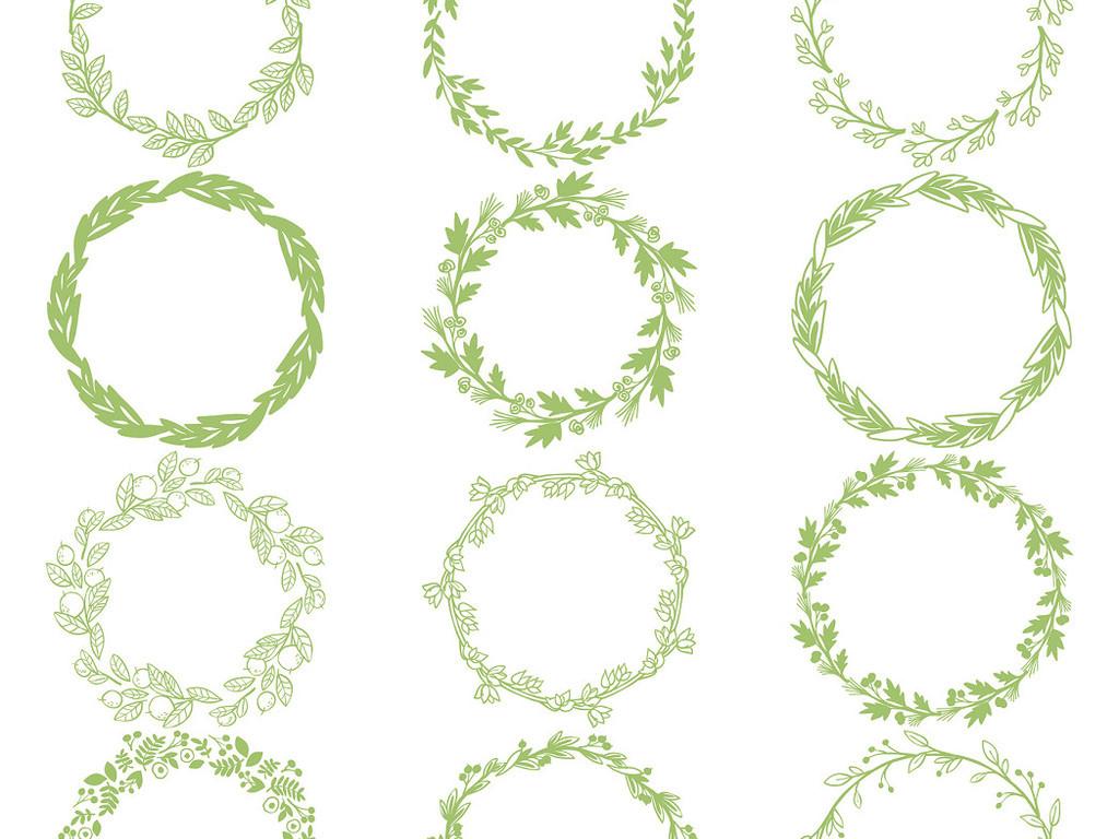 多款圆形花环花边手绘边框免抠素材图片