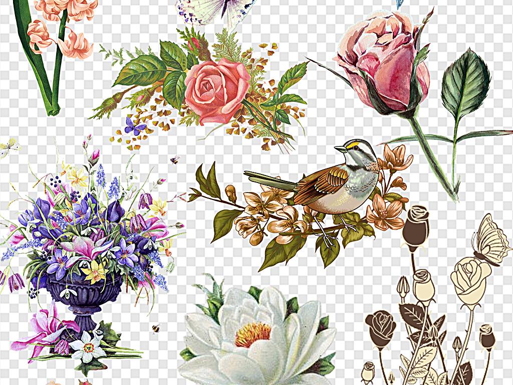 复古手绘花森林系元素卡通欧式花图片