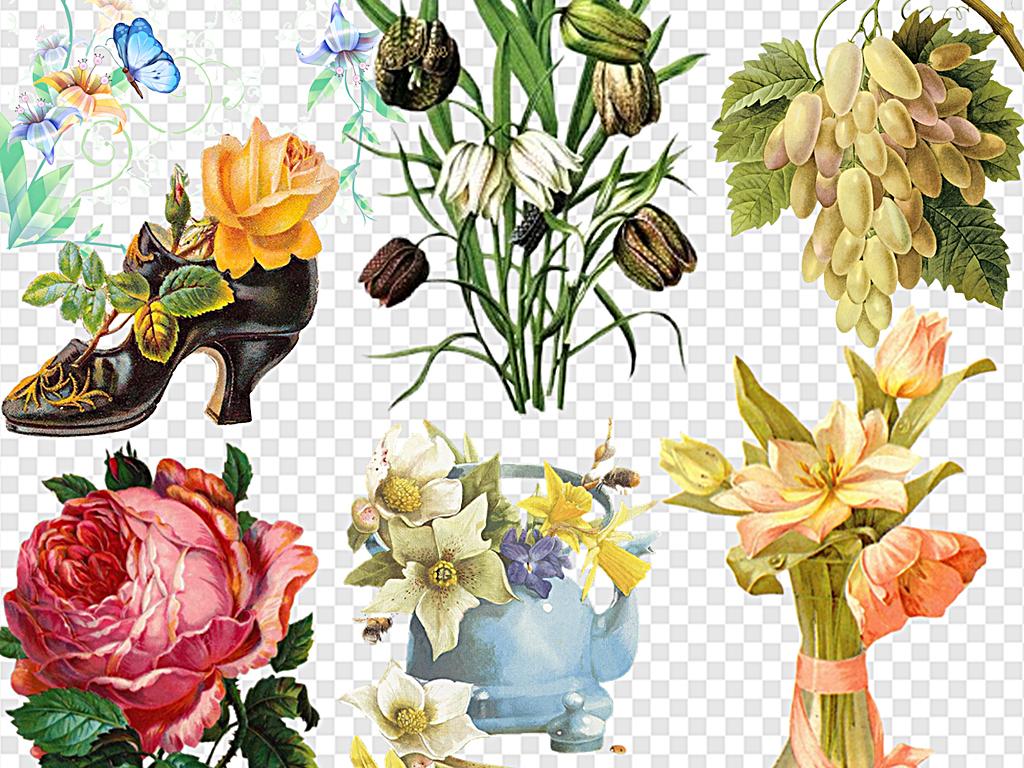 复古花束春天唯美花簇复古手绘花