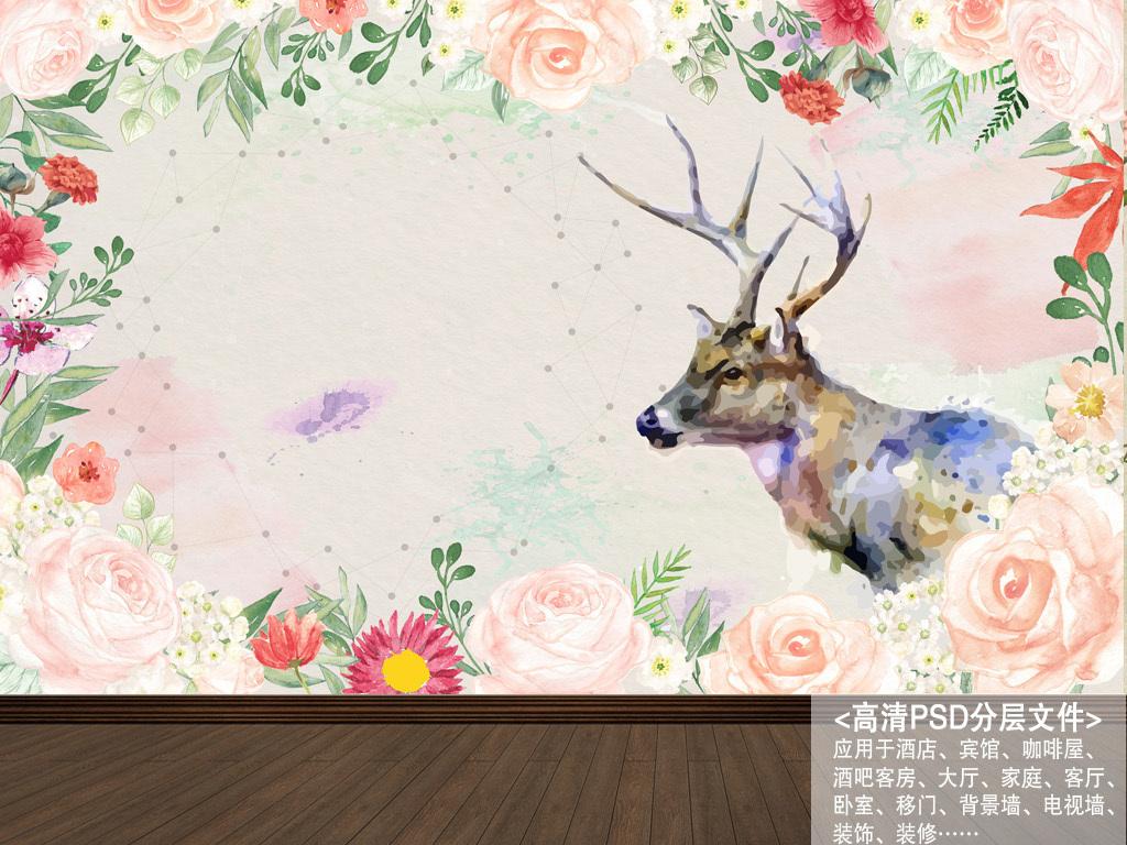 北欧素雅手绘玫瑰驯鹿花卉背景墙装饰画