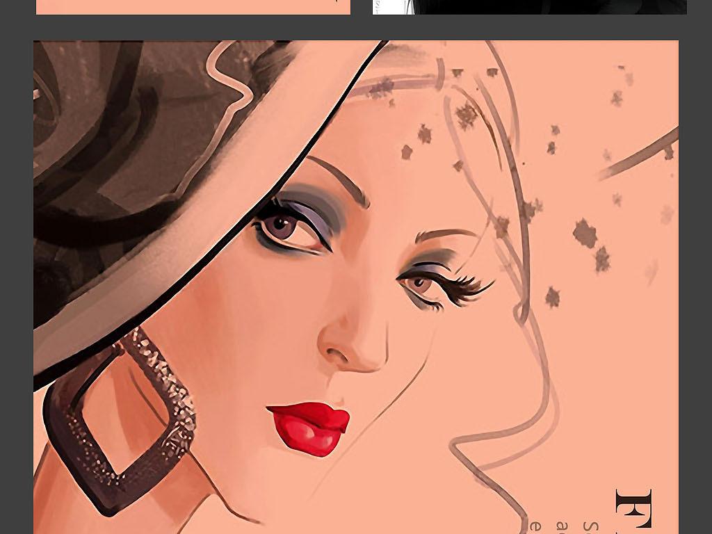时装画册封面女装手绘稿眉眼唇彩妆海报